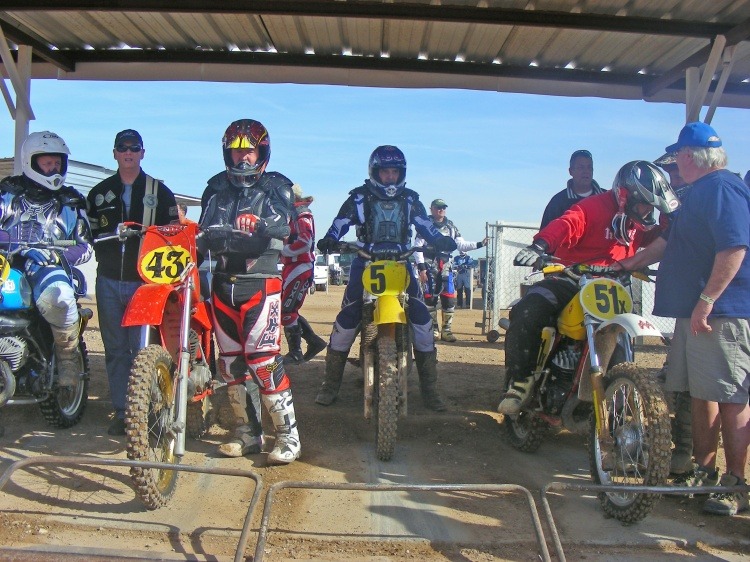 Bruce carefully selects his gate position, which pays off as he gets first place in his first moto.
