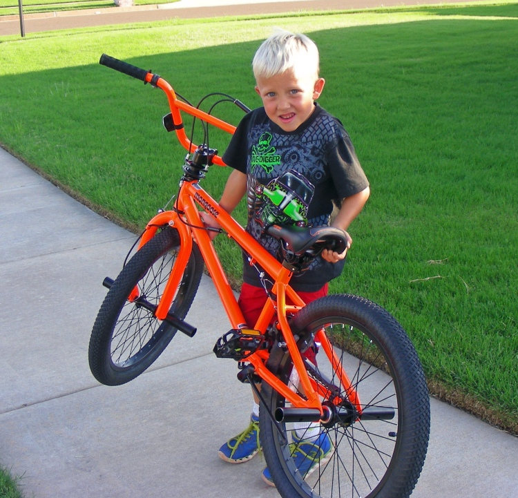 Leo with his new bike. His Dad and I had to cut it down to size, and after just a short time he was riding like a pro...