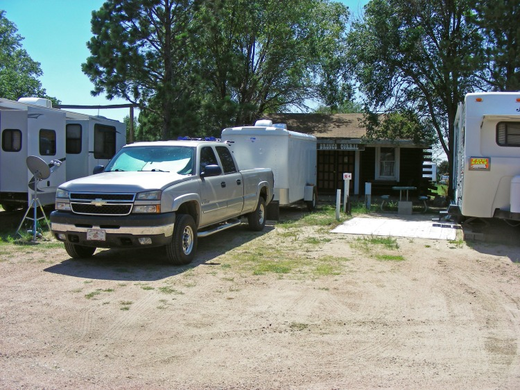 The  Wrangler RV park in Colorado Springs Colorado. Another nice park, but it was right under the flight path for Peterson Field...