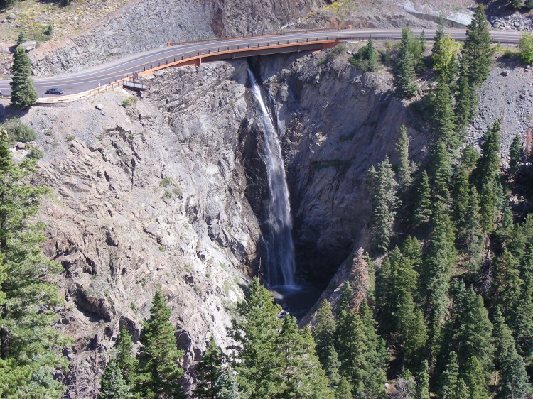 I think this is Bear Creek falls, but I know I took the photo from the Sutton Mine. The highway is route 550. We watched hikers travelling up the hike we will take tomorrow...