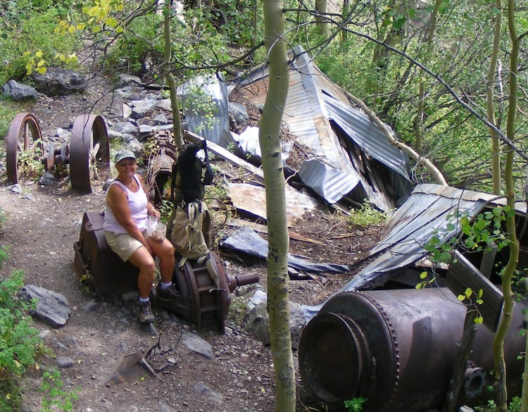 Our lunch break, the Grizzly Mine. It was fun to poke around and wonder, how did they get all this stuff up here???
