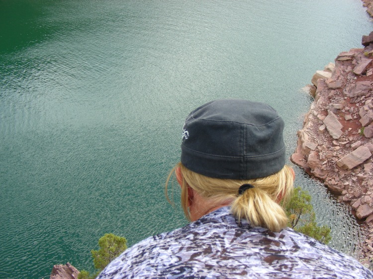 We entered the Flaming Gorge through the south side and Norm wanted to lay on a rock and look at the water. Okay...