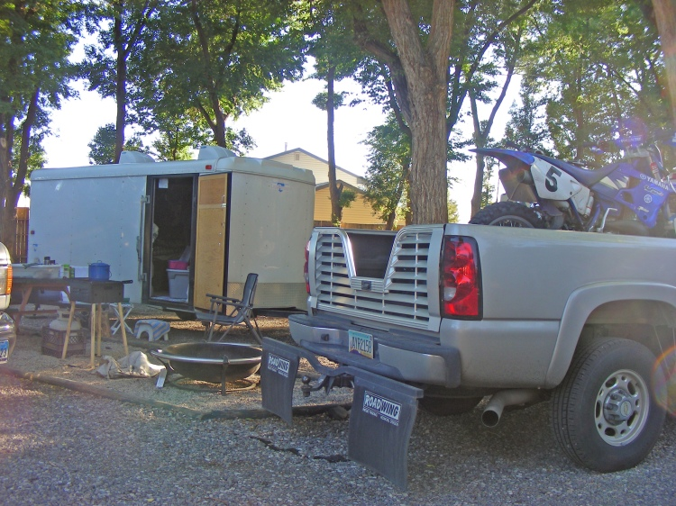 Our campsite at a RV park just outside of Thermopolis. It was a nice place. They had a nice rest rooms and lots of shade...