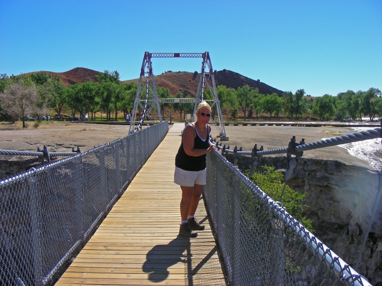 """Norm on a swinging bridge. Not good. Out of site behind me were about twenty boy scouts trying to see how high they could make the bridge go. Norm is yelling, """"Stop That!!!"""""""