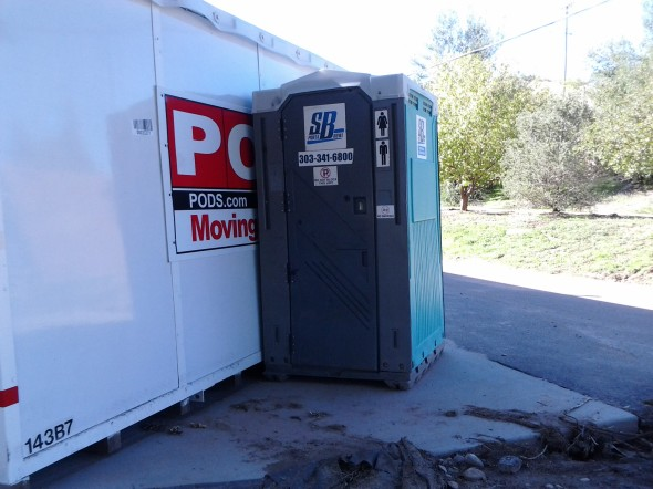 We have been using the port-a-potties in Lyons for most of the past week. It can be a frightening experience. Don't get me wrong, they are well serviced and smell pretty good for your normal port-a-potty. Entering one is a bit like a carnival ride! There is not a level potty in town. They rock, they roll, and they lean...