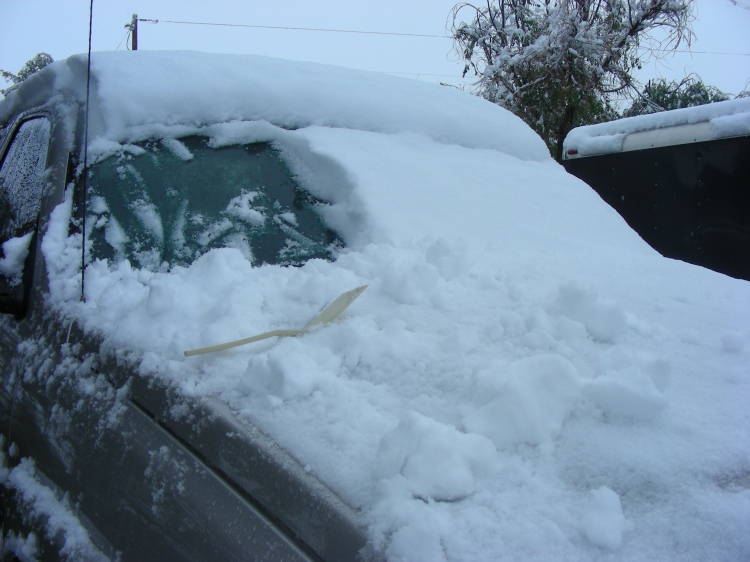 If you look carefully, you will see our Arizona ice/snow scraper....