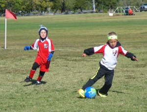 Leo puts a move on the other team. His team is really good, they play kids in the next (older) age bracket...