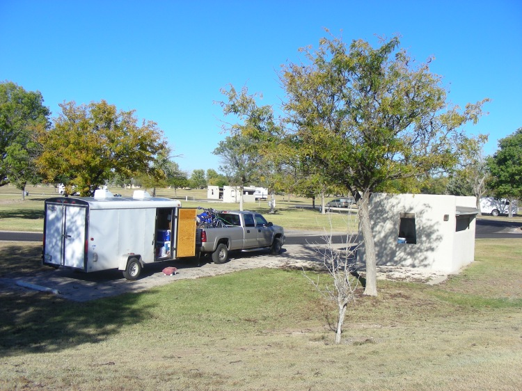 The lord always directs Norm to take us to the correct RV park for us, not for everyone, but for us. This little gem is a city park and most of the sites had these killer picnic covers. Nice showers and rest rooms, and, wait for it, yes, wi-fi...