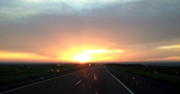 Through the window sunrise, east bound I-40...