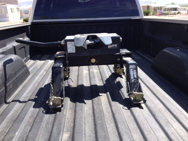 My awesome through the bed fifth wheel hitch. Ready fore service...
