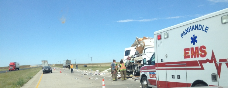 This was in Texas, tractor trailer and a motorhome. Not much left of the RV...